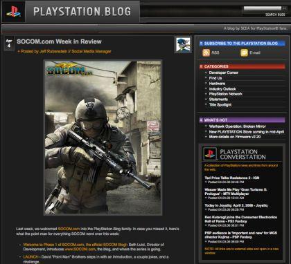 Screen Shot of PlayStation Blog