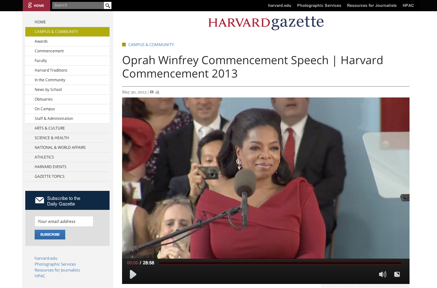 Oprah Winfrey Commencement Speech | Harvard Commencement 2013 | Harvard Gazette