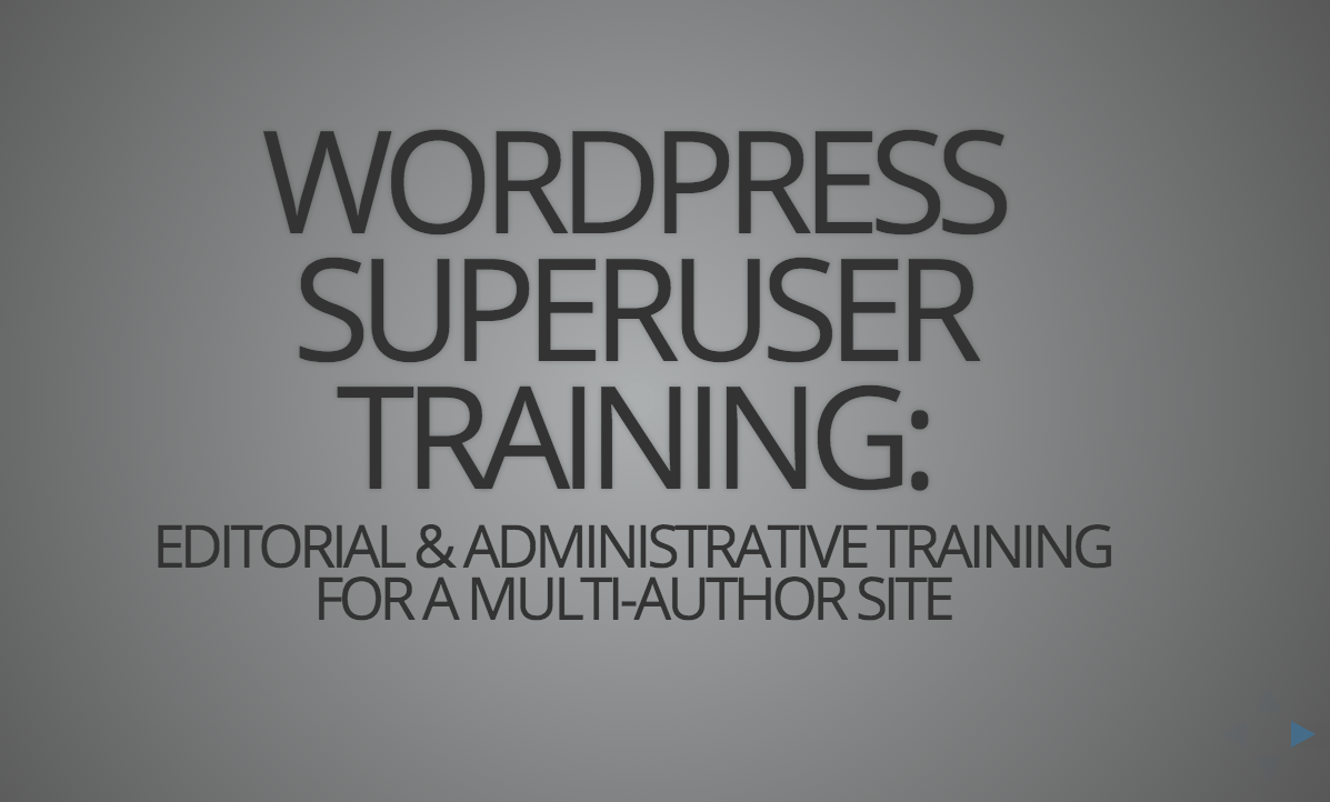 WordPress.com VIP Superuser Training Slides on GitHub