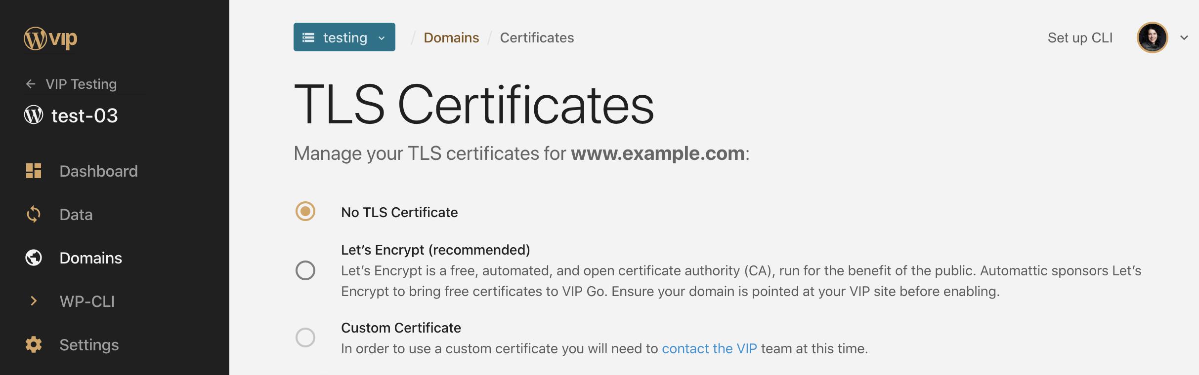 Menu to add TLS certificate