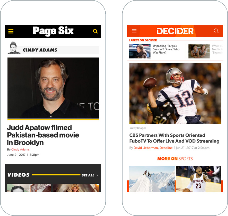 Mobile screenshots of PageSix and Decider