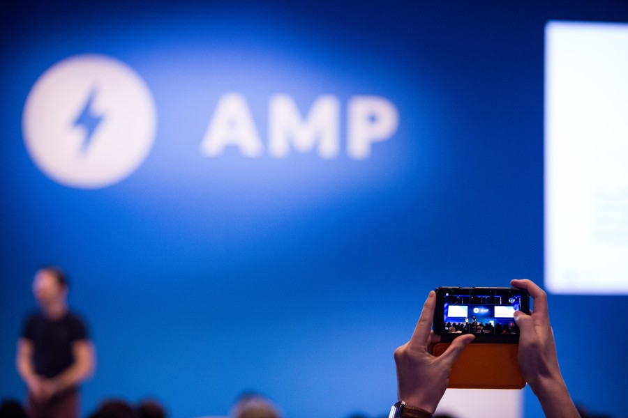 Stylized shot of AMP Conf stage
