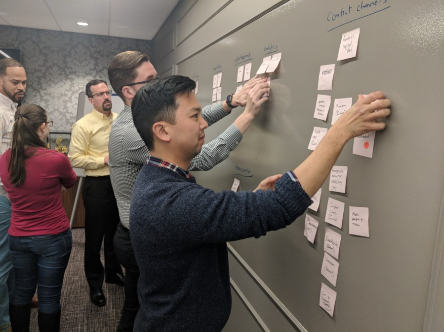 Five 10 up team members in a work session hanging pink post-its against a wall