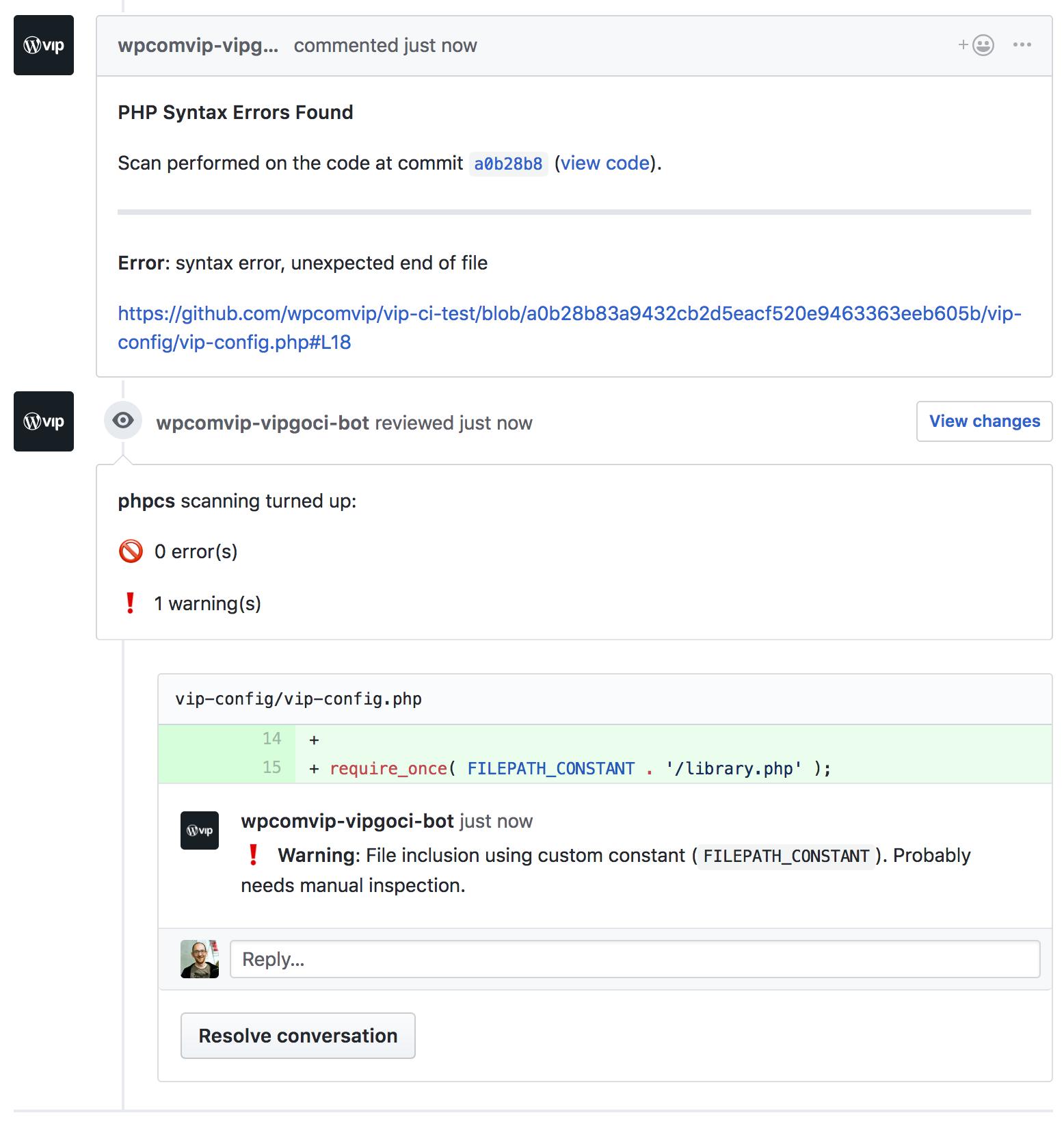 The VIP code analysis bot - Enterprise WordPress hosting