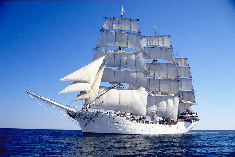 Large white ship, the Christian Radich, under sail