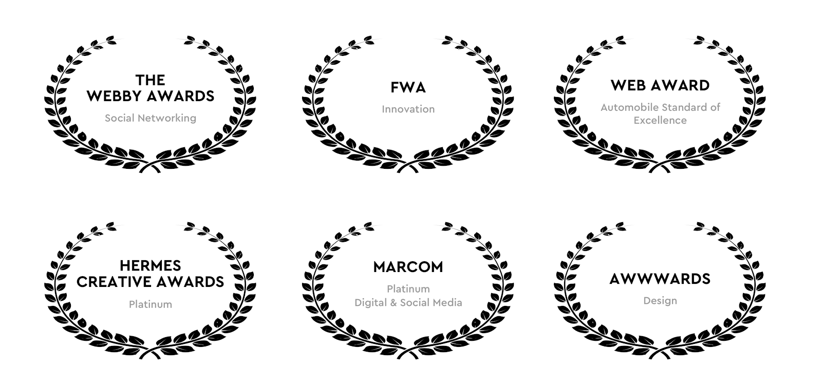 a list of awards given to rareview: the webby awards for social networking, FWA for innovation, Web Award for automobile standard of excellence, awwwards for design, platinum from hermes creative awards, platinum award for digital and social media from marcom.