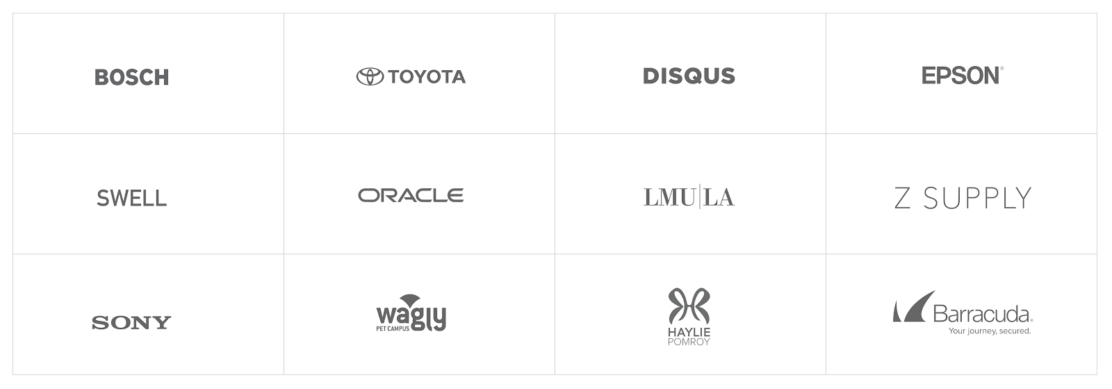a list of rareview's clients: Bosch, Toyota, Disques, Epson, Swell, Oracle, LMU|LA, Z Supply, Sony, Wagly, Haylie Pomroy, Barracuda