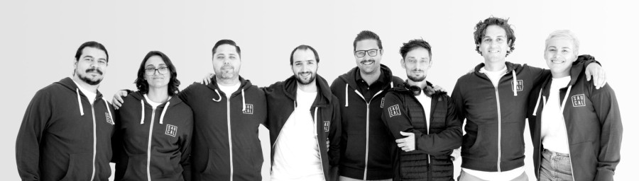 The Saucal team in branded hoodies