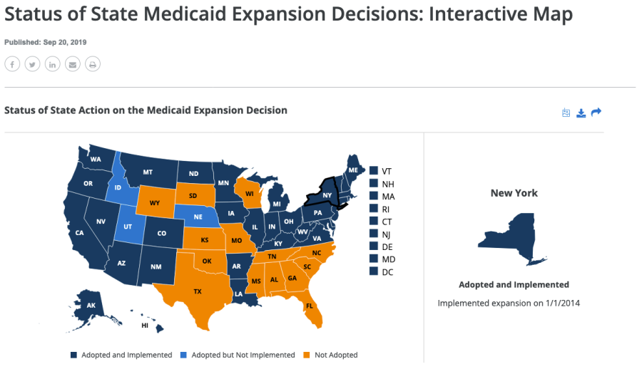 "A screenshot of the Kaiser Family Foundation data map, ""Status of State Medicaid Expansion Decisions"""