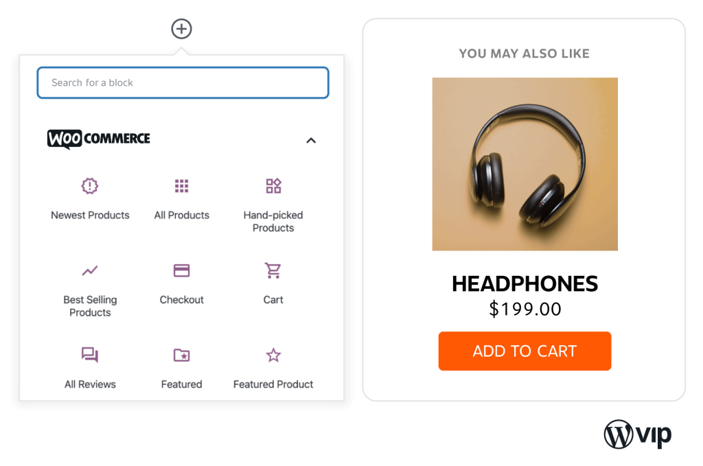 Blocks interface for adding products to content